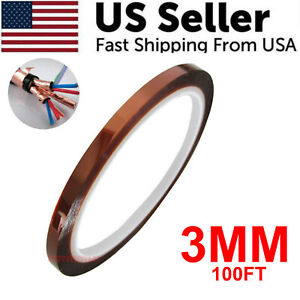3mm 100ft Kapton Polyimide Tape Adhesive High Temperature Heat Resistant 33m Usa