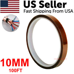 10mm 100ft Kapton Polyimide Tape Adhesive High Temperature Heat Resistant 33m
