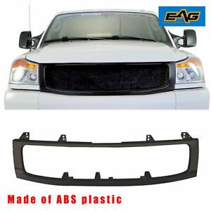 Eag Fit For 2004 2007 Nissan Titan Matte Black Grille Shell Abs Plastic