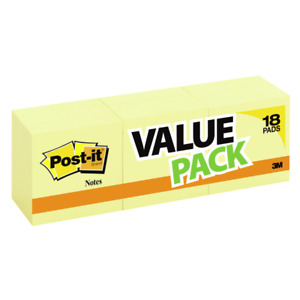 Post it Notes 3 X 3 Canary Yellow Pack Of 18 Pads