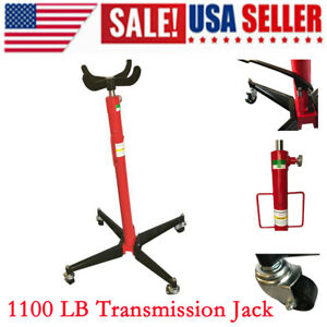 1100 Lb Auto Car Foot Pump Loaded Transmission Jack High Lift Stand Steel Red