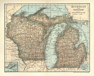 Vintage Color State Map Of Michigan Wisconsin Color 8 1 4 X 10 1 2 1903