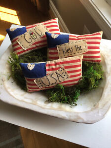 Set Of 3 Primitive Patriotic Farmhouse Flags Red White Blue Usa Bowl Fillers