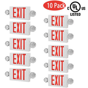 10 Pack Led Exit Sign Emergency Light hi Output Compact Combo Ul Listed red