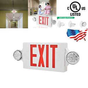 Led Exit Sign Emergency Light Hi Output Double sided Red Compact Combo Ul