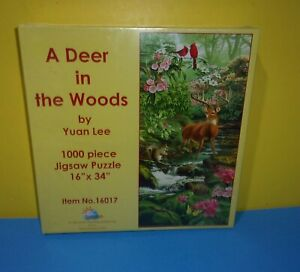 SUNSOUT A Deer In The Woods Yuan Lee 1000 Piece Jigsaw Puzzle 16 X 34 Animals $16.13