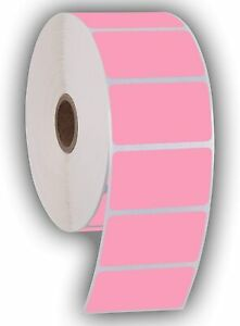 Pink Perforated 2 25x1 25 Thermal Labels 1000pr Compatible With Zebra Rollo