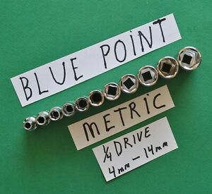 Blue Point New 1 4 Drive Shallow Metric Socket Set 4mm 14mm Motorcycle Tools