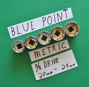 Blue Point New 3 8 Drive Metric Socket Set 20mm 24mm Motorcycle Auto Tools