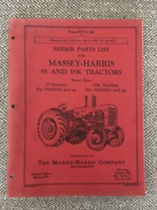 Repair Parts List For Massey harris 55 And 55k Tractors
