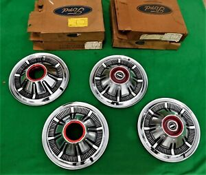 1966 1977 Ford Bronco 4x4 F100 F150 Truck Hubcaps Very Nice 15 Red Trim