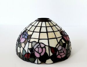 Antique Vintage Tiffany Style Stained Glass Slag Lamp Shade Fixture Lead 8 W