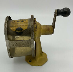 Vtg Apsco Yellow Metal Midget Automatic Manual Pencil Sharpener Mount Wall Desk