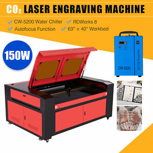 Omtech 150w 63 x40 Bed Co2 Laser Cutter Engraver With Cw 5200 Water Chiller