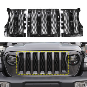 3x Honeycomb Mesh Grille Inserts Trim Cover For Jeep Wrangler Jl Jt 2018 Black
