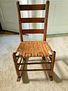 Shaker Antique Original Wood Early 1900s Child Rocking Chair Rocks Seats Nicely