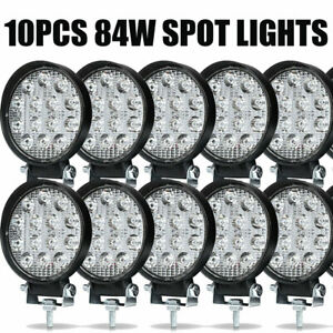 10pcs Led Work Light Spot Lights For Truck Off Road Tractor Atv Round 84w