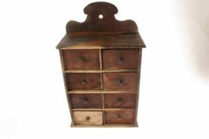 Antique 8 Drawer Wooden Spice Cabinet Names On Drawers