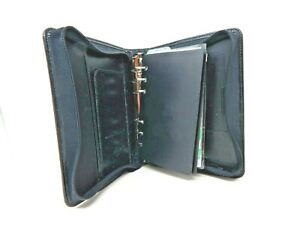 Franklin Quest Black Simulated Leather Compact Planner Organizer Binder 6 1 25