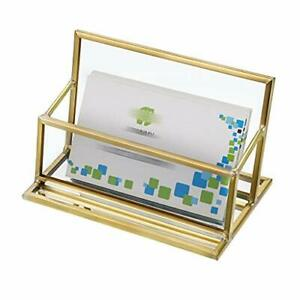 Glass Business Card Holder Stand Vintage Gold Metal Name Card Display Stand