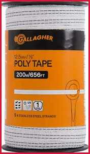 Electric Fence Poly Tape Ultra White 656 Ft Roll 5 Stainless Steel Rust Resistan