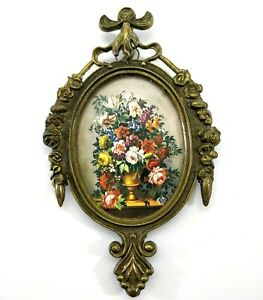 Vintage Small Oval Framed Picture Victorian Made In Italy