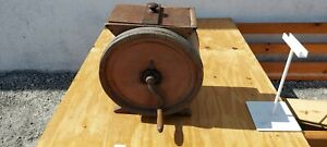 Antique Wood Cherry Barrell Single Hand Crank Butter Churn With Lid