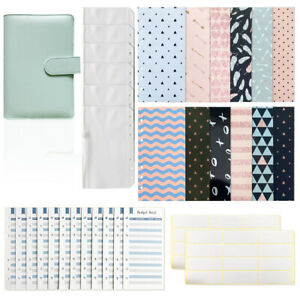 A6 Pu Leather Notebook Binder Loose Leaf 12 Pieces Envelopes Zipper Bags Supply