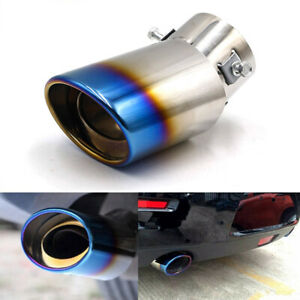Universal Car Exhaust Pipe Tip Rear Round Muffler Tail Throat Stainless Steel Us