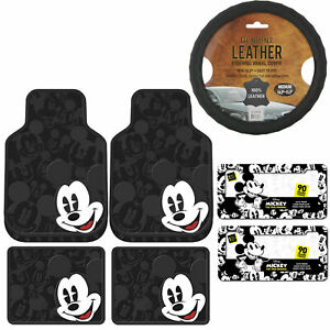 New 7pc Mickey Mouse Car Truck Front Rear Rubber Floor Mats Steering Wheel Cover
