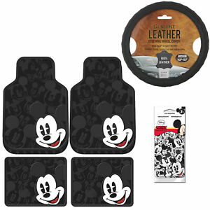 7pc Set Mickey Mouse Car Truck Front Rear Rubber Floor Mats Steering Wheel Cover
