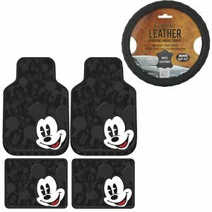 5pc Set Mickey Mouse Car Truck Front Rear Rubber Floor Mats Steering Wheel Cover