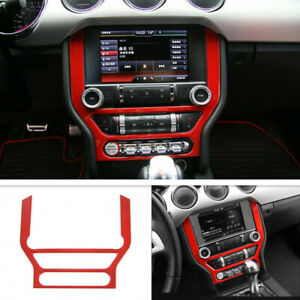 Fit For 2015 2021 Ford Mustang Abs Red Inner Console Cd Panel Trim Frame Cover