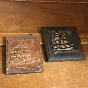 Vintage Lot Of 2 Small Copper Embossed Sailing Ship Mounted On Two Different Woo
