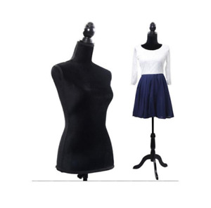 Female Mannequin Torso Dress Form Clothing Display With Tripod Stand Black