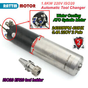 1 8kw Iso20 Automatic Tool Changer Atc Spindle Water Cooled Milling Motor 220v