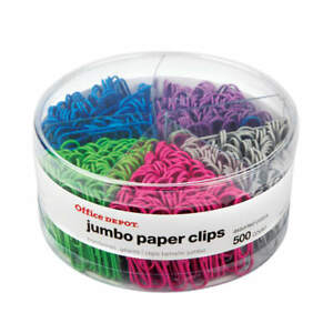 Office Depot Brand Jumbo Paper Clips 1 7 8 20 sheet Capacity Assorted Color