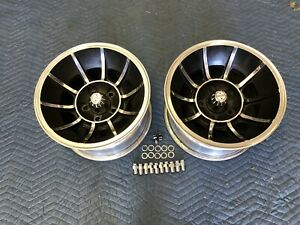 Pair 2 Polished 15x8 1 2 Vector Style Wheels Chevy 5 On 4 3 4 Chevy Van Nice