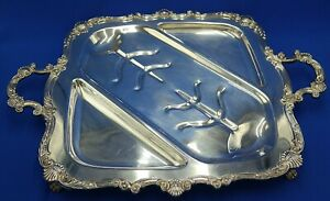 Heavy Silverplate Footed Meat Serving Tray With Handle 24