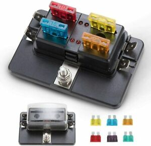 4way Blade Fuse Block Holder Box W protection Cover Led Indicator For Blown Fuse
