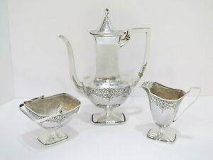 3 Pc 10 5 Sterling Silver International Antique Hammered Small Tea Coffee Set