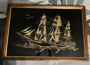 Vtg Pirate Ship Brass Pressed Picture Wall Art Nautical 38 1 4 X 26 1 4 X 1