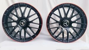 20 Staggered Amg Style Wheels Red Lip For Mercedes Brand New S E Cl C Class