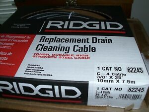 Ridgid 62245 Drain Cleaning Cable 3 8 In X 25 Ft
