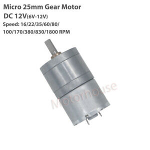 Dc 6v 9v 12v Micro Small 25mm Gearbox Gear Speed Reduction Motor Large Torque