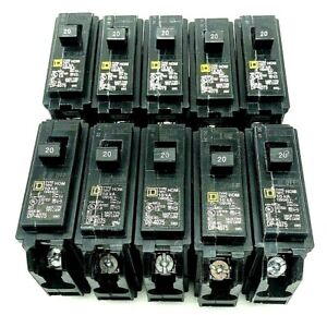 New Homeline Hom120cp Single 1 Pole 20 Amp Square D Circuit Breaker Lot Of 10