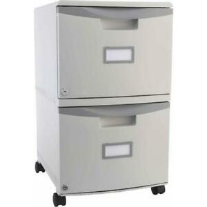 Storax 2 Drawer Mobile File Cabinet With Lock And Casters For Legal And Letter