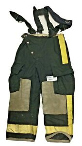 34x28 Globe Black Firefighter Turnout Pants With Suspenders Yellow Tape P1286