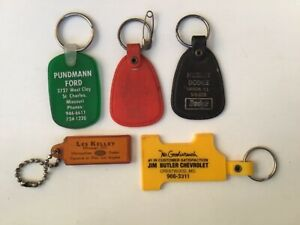 5 Vintage Truck Dealership Advertising Key Chains Dodge Ford Chevy