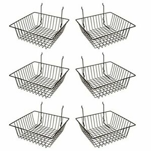 Econoco Multi Fit Black Small Wire Basket For Slatwall Grid Of Pegboard Comme
